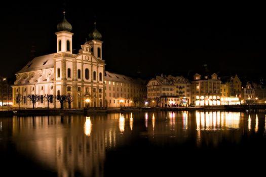 Church reflected night scene in Luzern, Switzerland