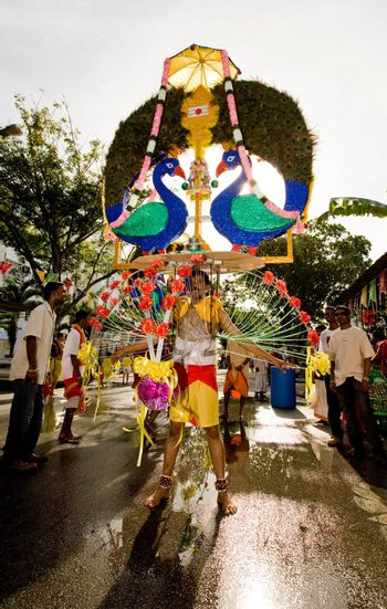 man carrying a heavily decorated kavadi for his beliefs