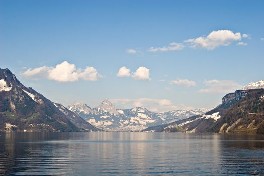 Photo of a lake in the Swiss Alps. View over Vier Wald See, in Switzerland.