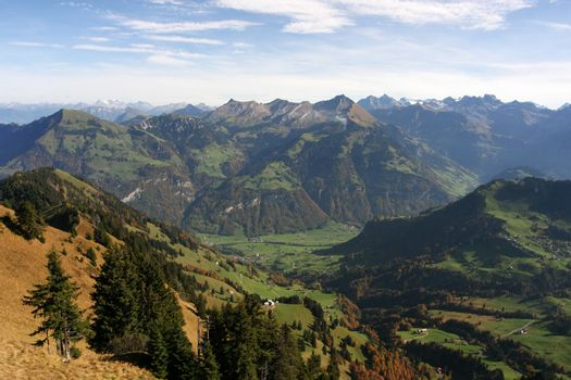 A view over the Swiss Alps in Fall