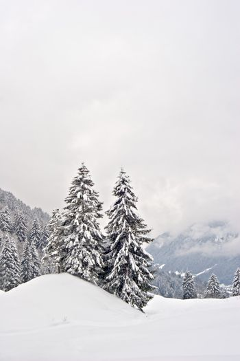 A view over a winter landscape in Switzerland.