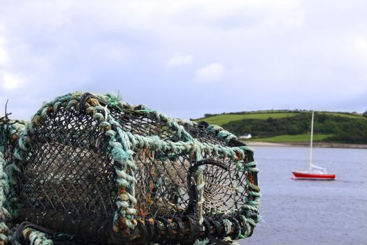 a lobster pot in an irish port