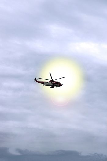 a helicopter on a life rescue mission