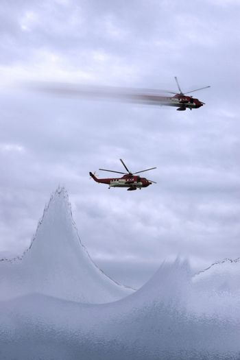 two helicopters on a life rescue mission