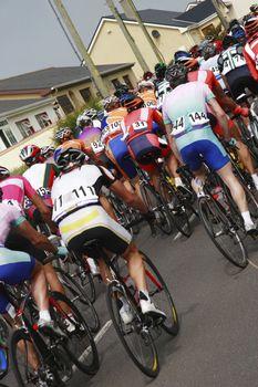 a cycle race climbing a big hill