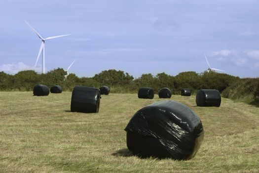 some black bales in front of windmills