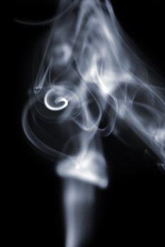 natural white smoke on black background