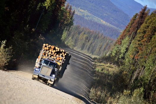 Logging truck in beautiful British Columbia