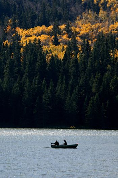 Two fishermen boating on Reesor Lake