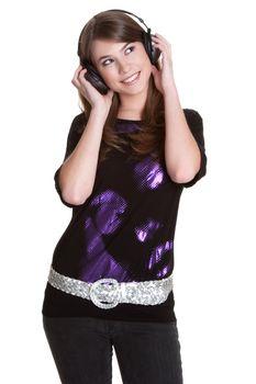 Teenage headphones music girl isolated