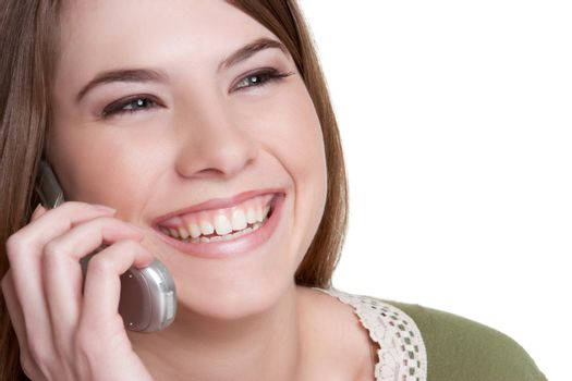 Smiling teenage cell phone girl