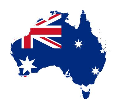 Illustration of Australia flag on map of country; isolated on white background.