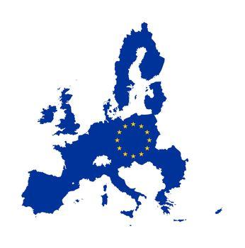European Union flag on continent