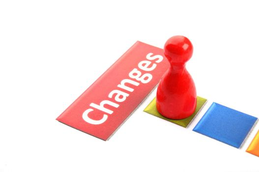 changes ahead business concept with pawn on white showing success