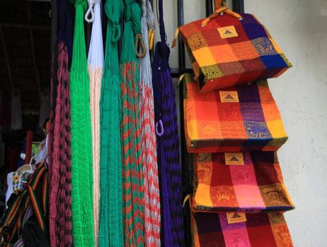 Storefront selling hand made beach bags and hamocks