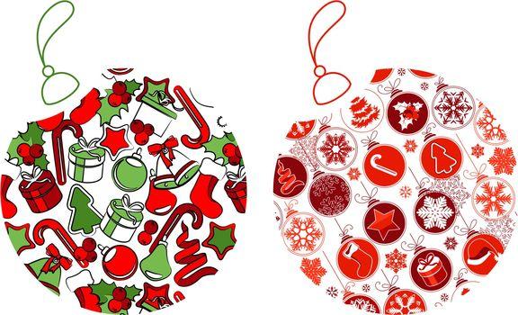 Christmas balls made of Christmas symbols. Two versions.