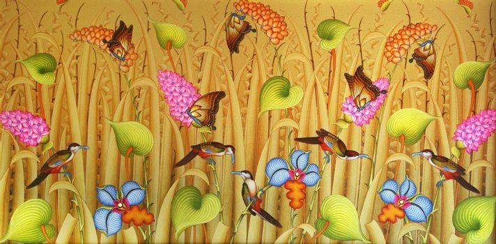 Picture with the image of butterflies, flowers and birds