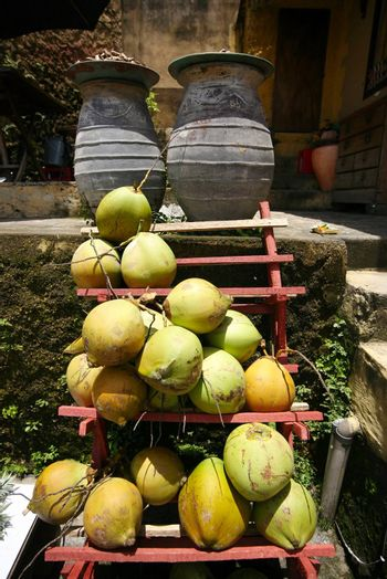 Cocoes on a counter. Bali. Indonesia