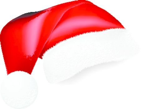 Red Santa Claus hat with shadow for collage. Vector illustration