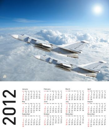 Calendar 2012 with plane image.  Vector illustration
