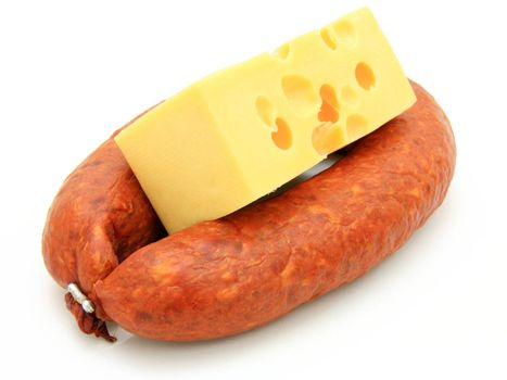 Fresh sausage with cheese on a white background