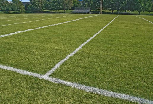 American football playing field in summer