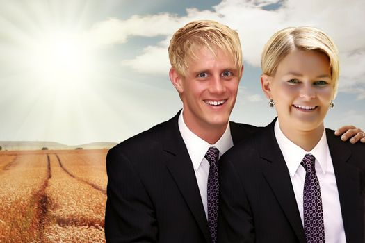 business team of two young professionals in nature