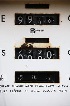 An old gasoline pump in scenic Saskatchewan