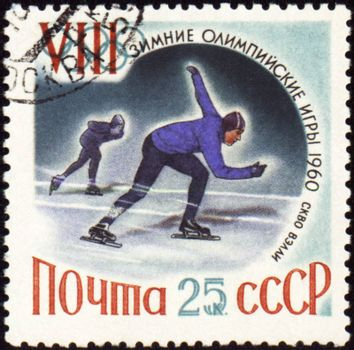 USSR - CIRCA 1960: A post stamp printed in USSR shows skaters, devoted to the Olympic Winter Games in Squaw Valley, series, circa 1960