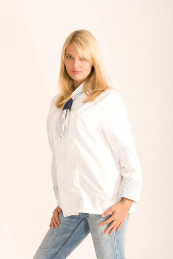 Blonde cook in a trendy white workwear