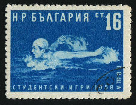 BULGARIA - CIRCA 1958: Swimmer in freestyle, circa 1958.