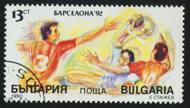 BULGARIA - CIRCA 1990: stamp printed by Bulgaria, shows handball, circa 1990.