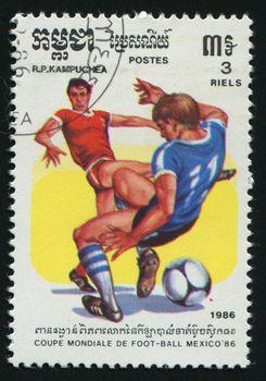 CAMBODIA - CIRCA 1985: 1986 World Cup Soccer Championships Mexico, circa 1985.