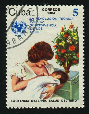 CUBA - CIRCA 1987: A  stamp printed by Cuba,  shows Mother with the baby. UN Child Survival Campaign, circa 1987.