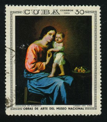 CUBA - CIRCA 1969: A  stamp printed by Cuba,  shows Mother with the baby, circa 1969.
