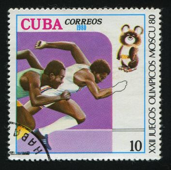 CUBA - CIRCA 1980: A  stamp printed by Cuba,  shows competition on running, circa 1980.