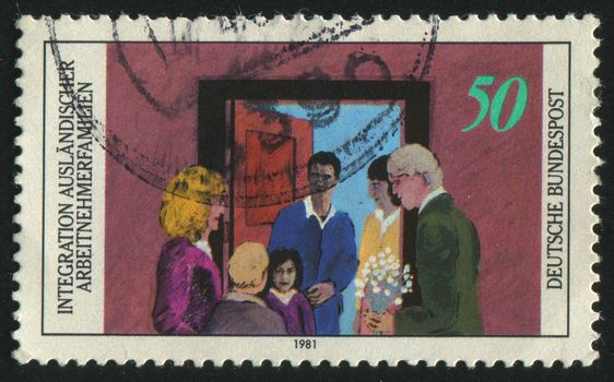 GERMANY  - CIRCA 1981: stamp printed by Germany, shows Foreign Guest Worker,  circa 1981.