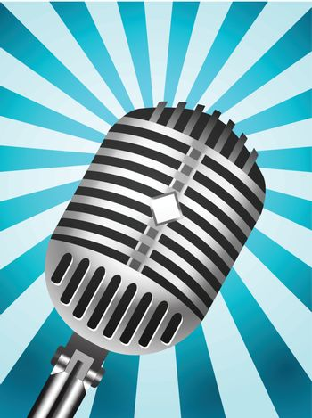 Classic Microphone on lined background. Vector illustration