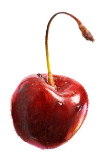 The image of a sweet cherry with a drop on a white background