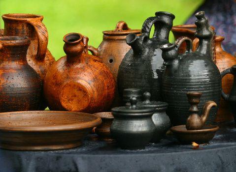 Damp pots on a grass