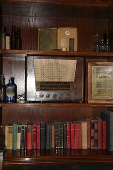 an old fashioned book shelf