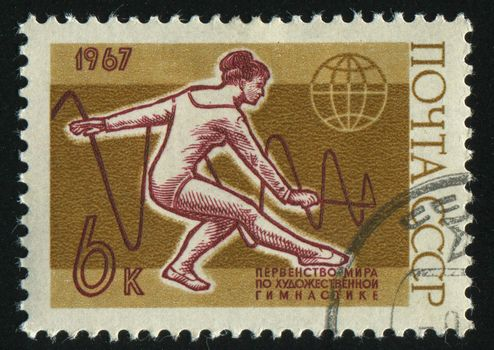 RUSSIA - CIRCA 1967: stamp printed by Russia, shows woman gymnast, circa 1967.