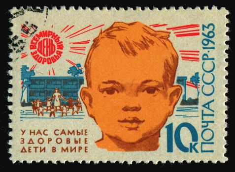 RUSSIA - CIRCA 1963: stamp printed by Russia, shows portrait guy, circa 1963.