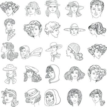 Set hand-drawn fashion model. Vector illustration. Woman's and men face