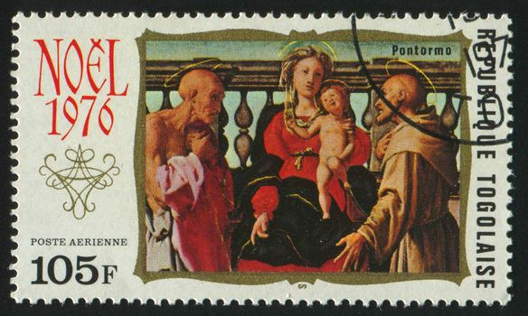 TOGOLESE REPUBLIC -CIRCA 1976: stamp printed by Togo, shows picture, Virgin and Child,  circa 1976.