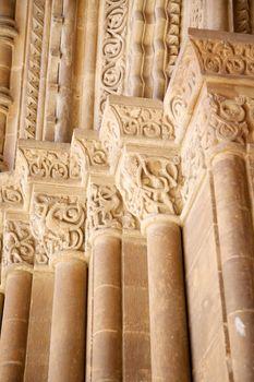 carved columns door of Lleida cathedral