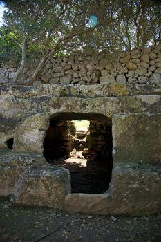 cave entrance carved