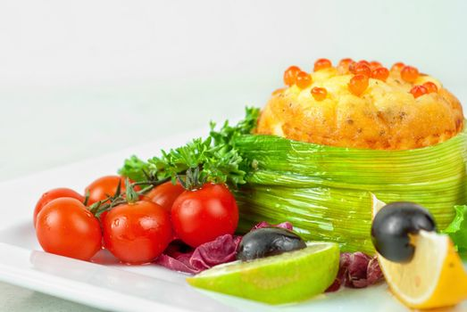 Tasty dish of salmon with omelette and philadelphia cheese