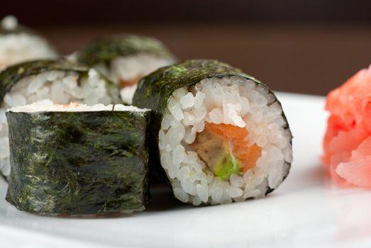 Hokkaido maki: sushi rool of avocado, nori, salmon