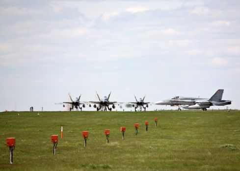 F-18s Fighters on runway at 15th Wing